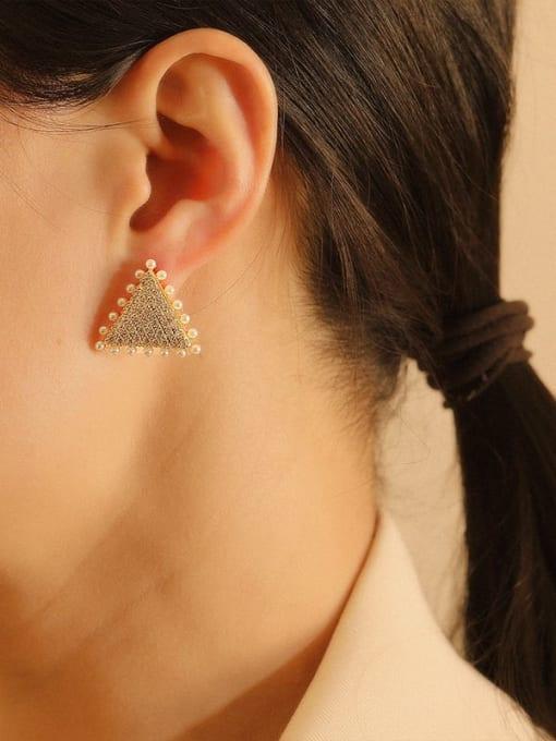 HYACINTH Brass Cubic Zirconia Triangle Vintage Stud Earring 2