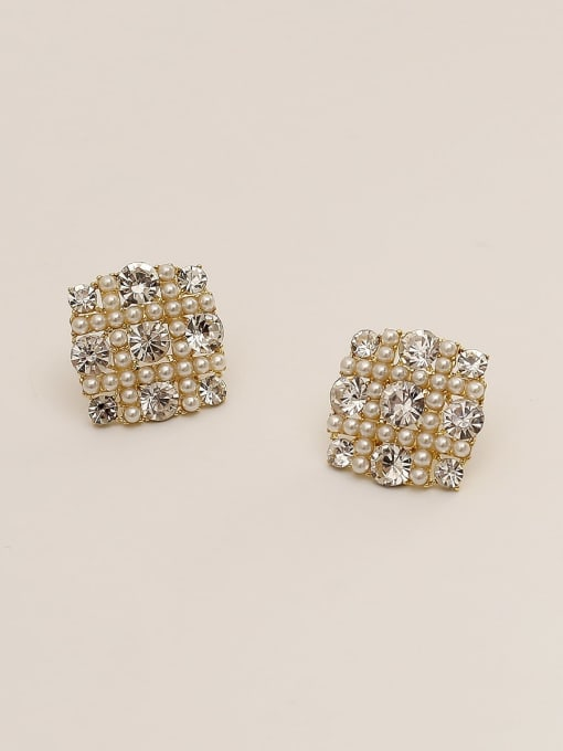 14K godl Brass Imitation Pearl Geometric Vintage Stud Earring