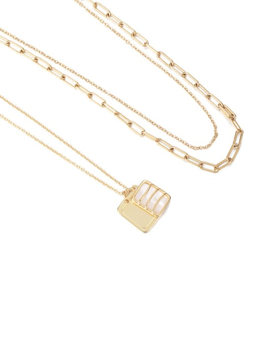 Double necklaces Brass Imitation Pearl Geometric Vintage Necklace