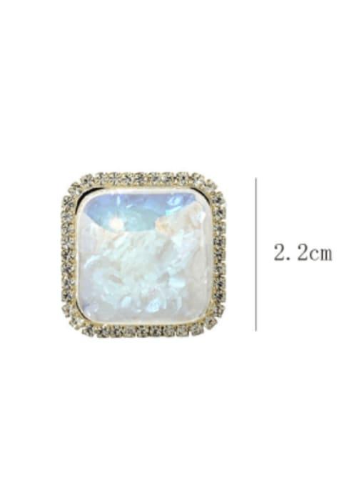 SUUTO Brass Glass Stone Geometric Minimalist Stud Earring 2