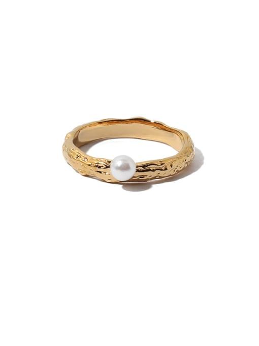 Pearl Ring Brass Imitation Pearl Irregular Vintage Band Ring