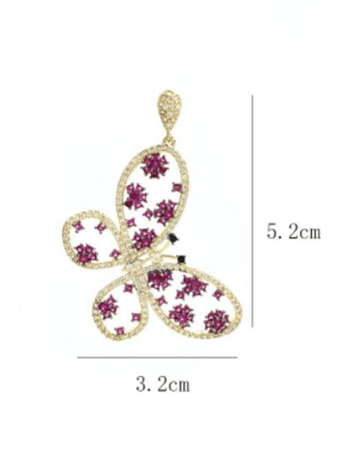 SUUTO Brass Cubic Zirconia Butterfly Luxury Drop Earring 3