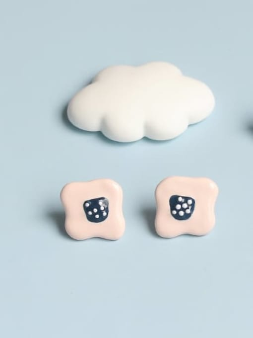 Pink Earrings Alloy Enamel Cloud Minimalist Stud Earring