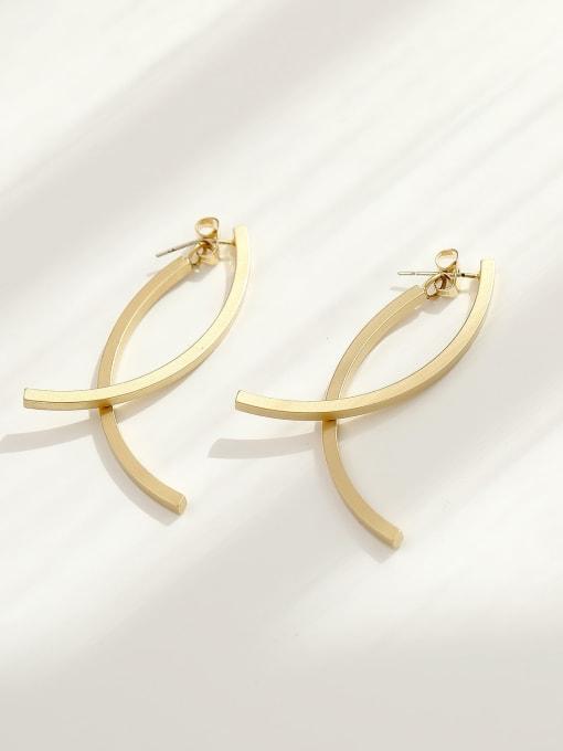 HYACINTH Brass Geometric Minimalist Drop Earring