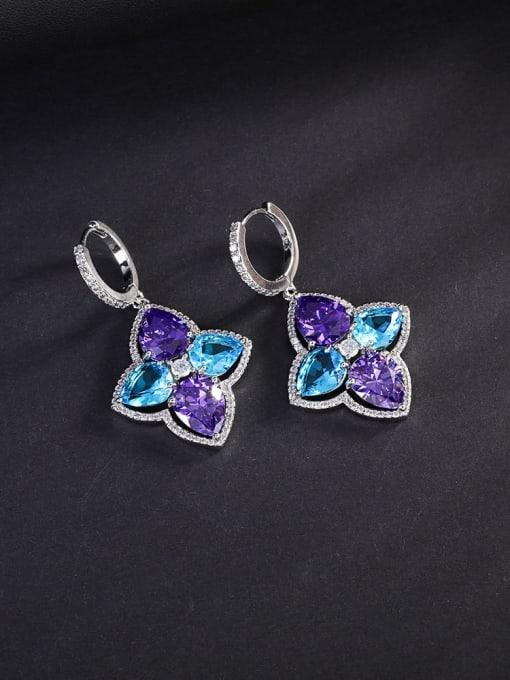 OUOU Brass Cubic Zirconia Flower Luxury Huggie Earring 2