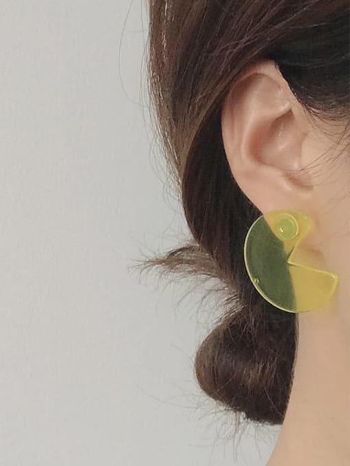 Five Color Alloy Acrylic Round Cute Stud Earring 2