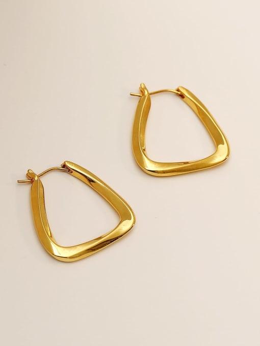 18K Gold Brass Hollow Geometric Minimalist Stud Earring