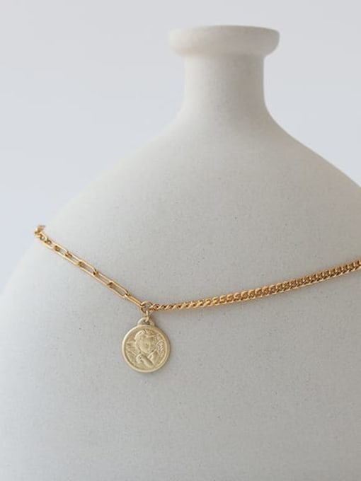 TINGS Brass Coin Artisan round pendant Necklace 3