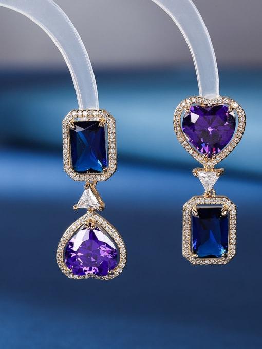 Spinel blue square purple love Brass Cubic Zirconia Heart Luxury Drop Earring