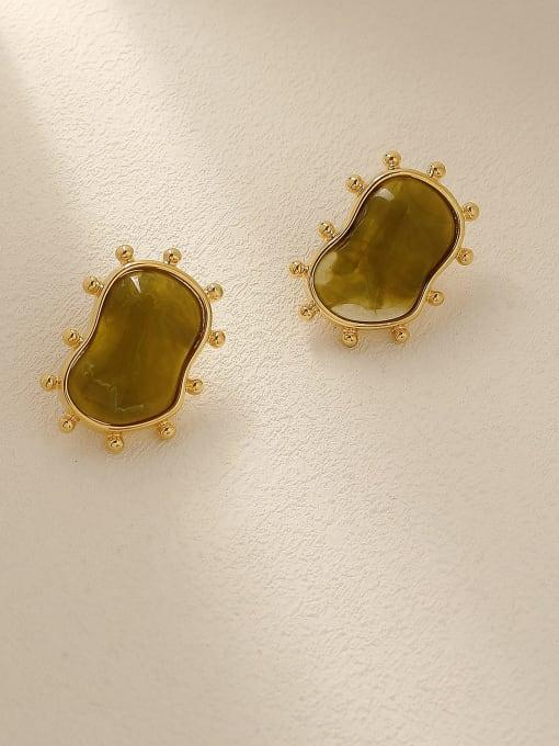 18K Gold Brass Resin Geometric Vintage Stud Earring