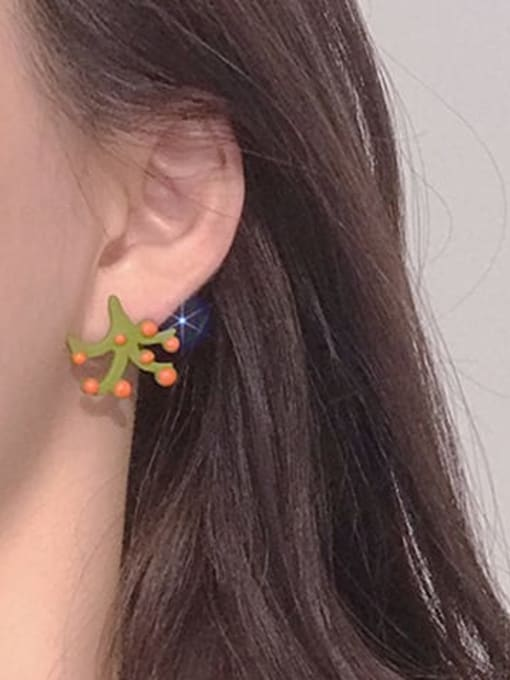 Five Color Alloy Enamel Tree Cute Stud Earring 1