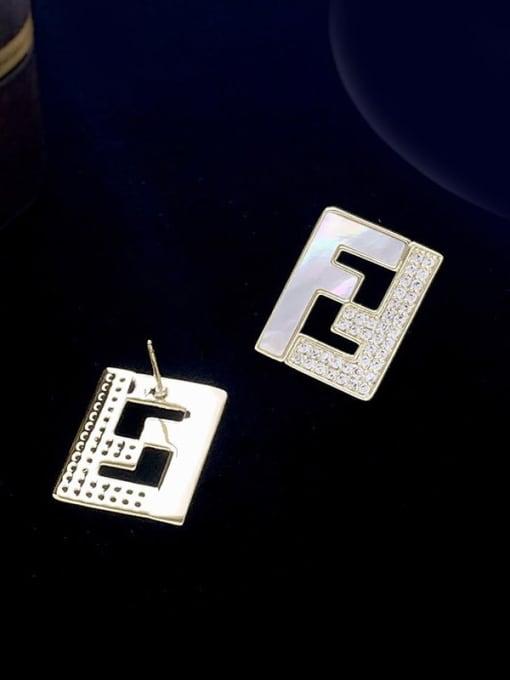 SUUTO Brass Cubic Zirconia Geometric Minimalist Stud Earring 1