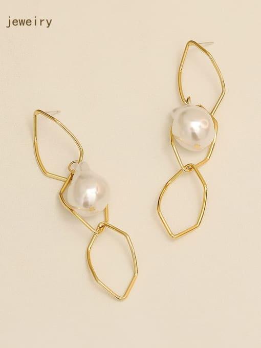 HYACINTH Copper Imitation Pearl Hollow Geometric Minimalist Drop Earring 1