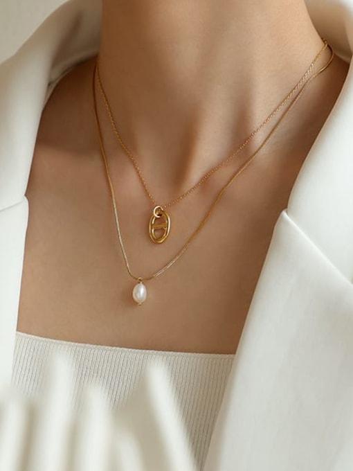 Five Color Brass Imitation Pearl Geometric Minimalist Necklace 1