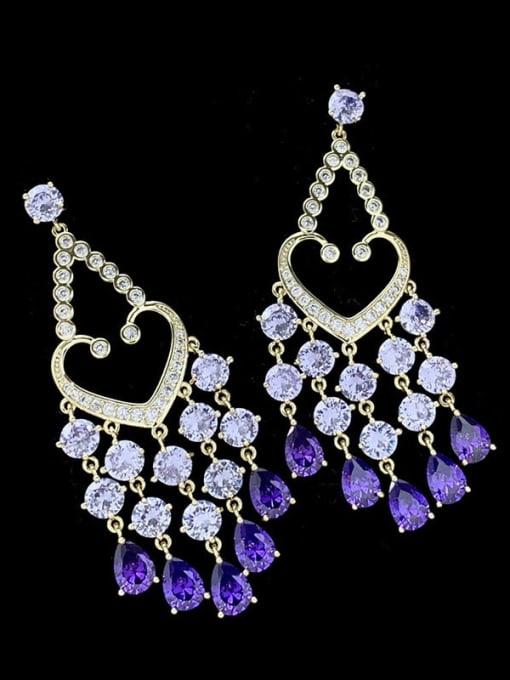 purple Brass Cubic Zirconia Heart Tassel Luxury Drop Earring