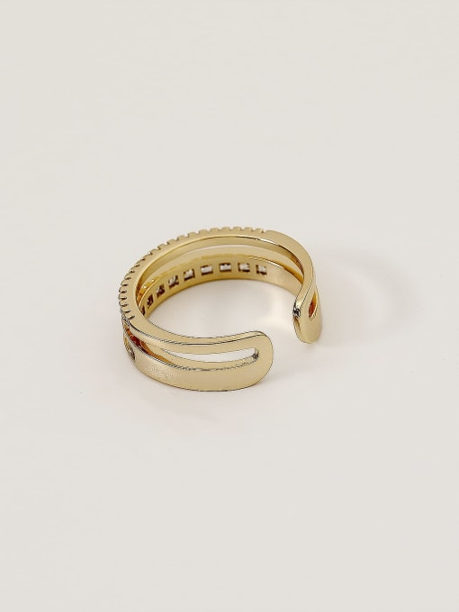 HYACINTH Brass Cubic Zirconia Geometric Minimalist Band Ring 3