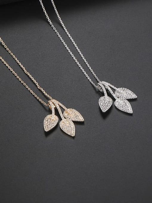 YILLIN Brass Cubic Zirconia Leaf Minimalist Necklace 2