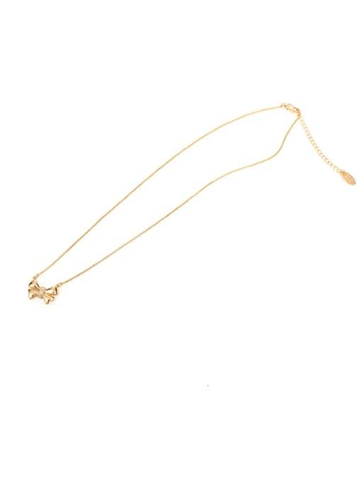 Bow Necklace Brass Bowknot Minimalist  Pendant Necklace