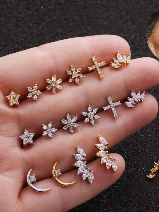 HISON Brass Cubic Zirconia Flower Cute Stud Earring 0