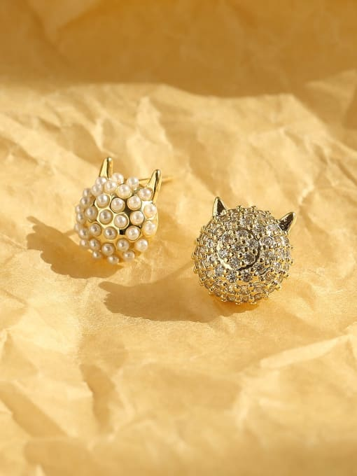 HYACINTH Brass Imitation Pearl Geometric Ethnic Stud Earring 2