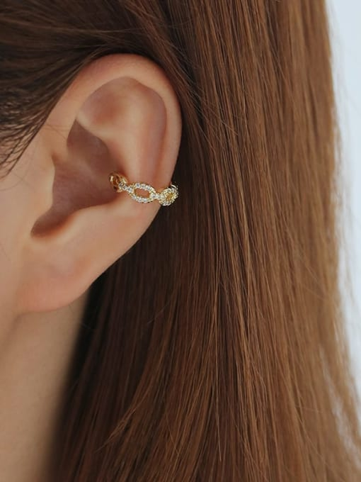 Five Color Brass Cubic Zirconia Geometric Hip Hop Single Earring 2