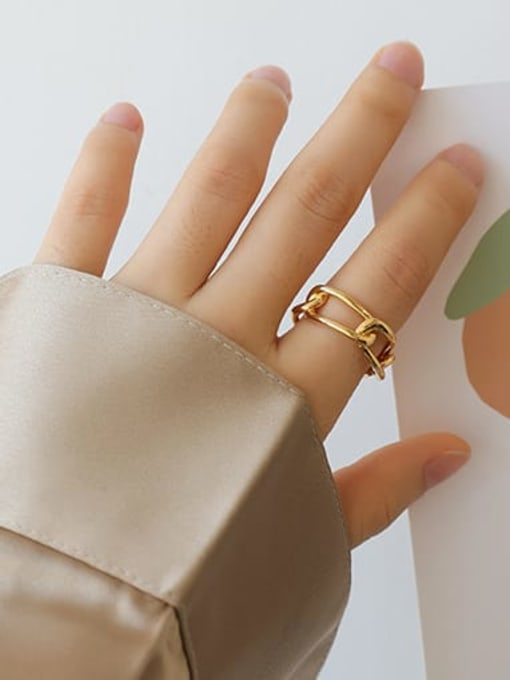 Five Color Brass Hollow Geometric Minimalist Stackable Ring 1