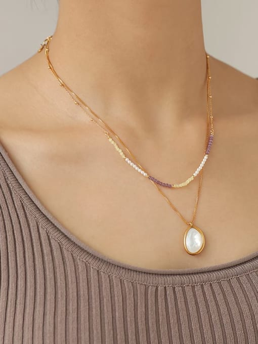 TINGS Brass Cats Eye Geometric Hip Hop Necklace 1