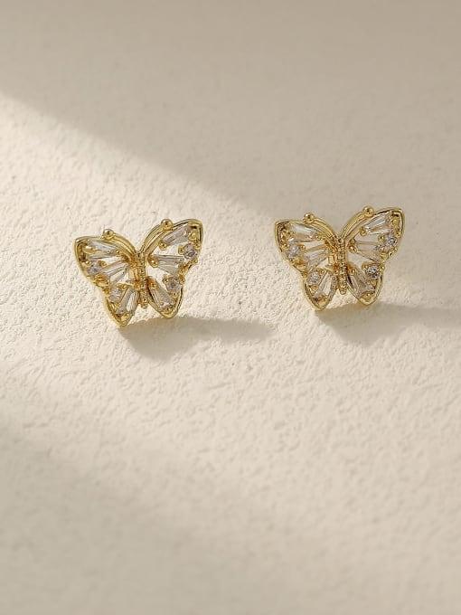 HYACINTH Brass Cubic Zirconia Butterfly Vintage Stud Earring 2