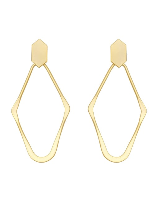 HYACINTH Brass Hollow Geometric Minimalist Drop Earring 0