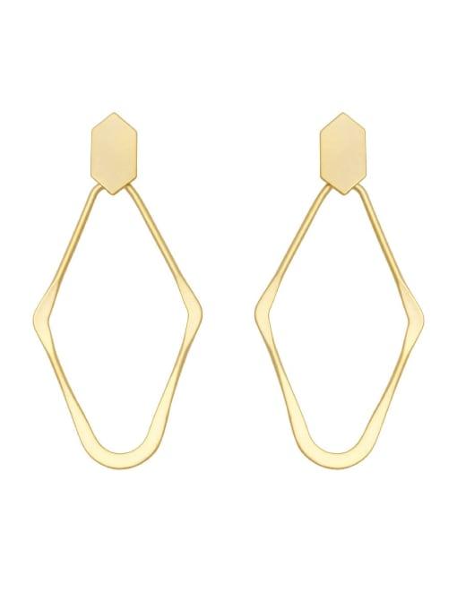 HYACINTH Brass Hollow Geometric Minimalist Drop Earring