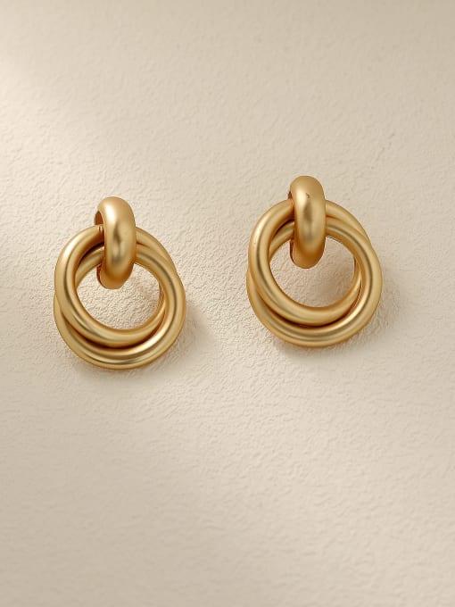 HYACINTH Brass Smooth Geometric Vintage Drop Earring 3