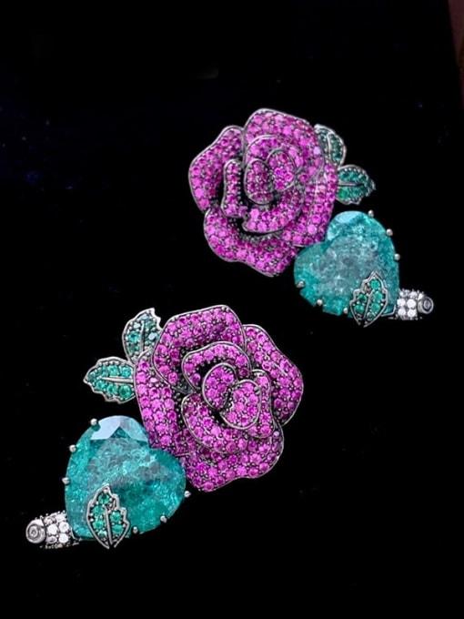 SUUTO Brass Cubic Zirconia Flower Ethnic Stud Earring 2