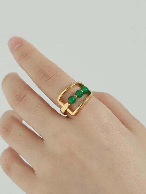 TINGS Brass Bead Geometric Vintage Band Ring 2