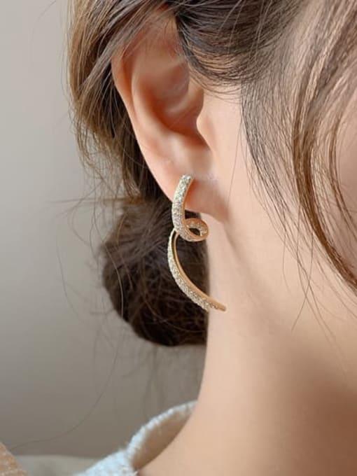 OUOU Brass Cubic Zirconia Irregular Minimalist Stud Earring 2