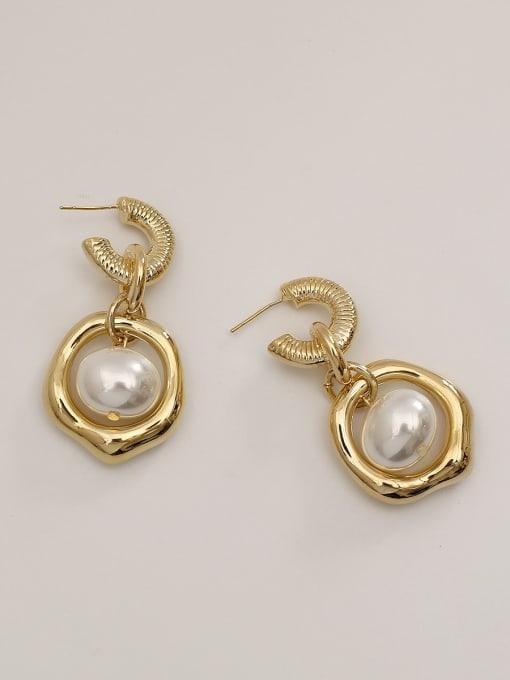 HYACINTH Brass Imitation Pearl Geometric Vintage Drop Earring 4