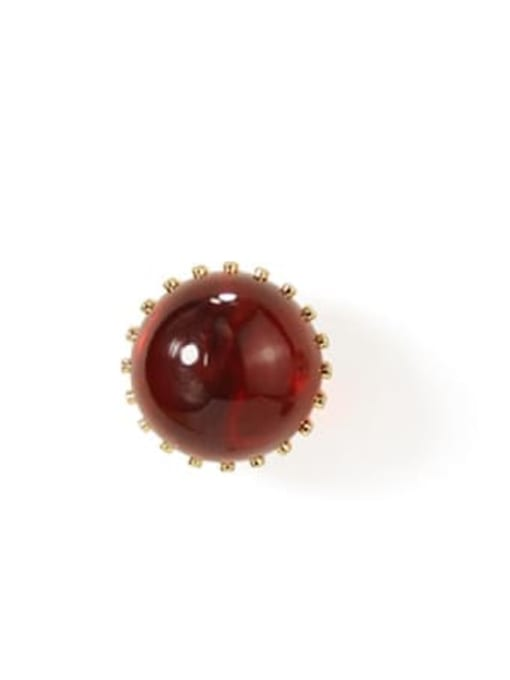 Wine large Alloy Bead Round Cute Stud Earring