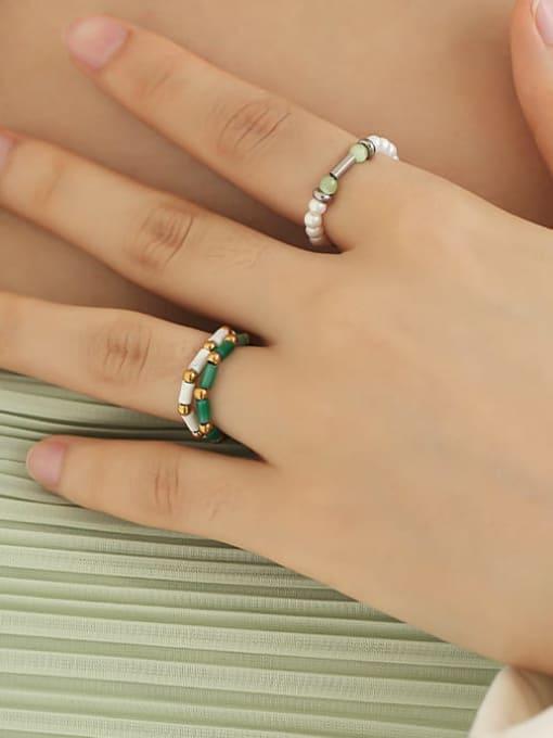 TINGS Brass Imitation Pearl Geometric Minimalist Bead Ring 3
