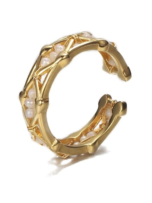 Five Color Brass Freshwater Pearl Geometric Hip Hop Band Ring 3