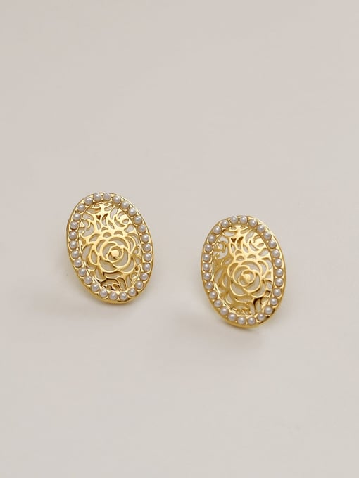 HYACINTH Brass Imitation Pearl Flower Minimalist Stud Earring 0