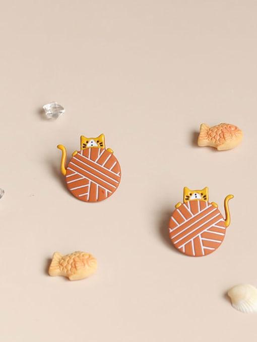 Five Color Alloy Enamel Cat Cute Stud Earring