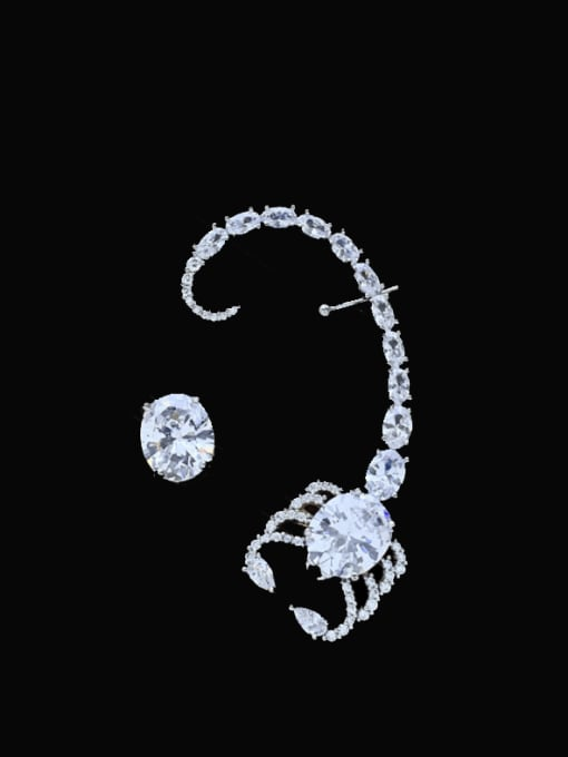 SUUTO Brass Cubic Zirconia Irregular Vintage Cluster Earring 2