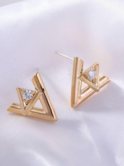OUOU Brass Rhinestone Triangle Minimalist Stud Earring 2