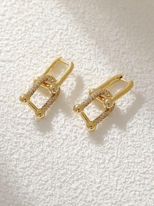 HYACINTH Brass Cubic Zirconia Geometric Vintage Drop Earring