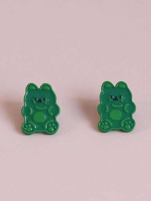 Five Color Alloy Enamel Bear Cute Stud Earring 0