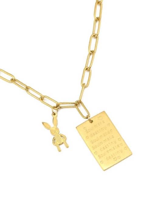 ACCA Titanium English square tag Personality  rabbit  Hip Hop Long Strand Necklace 2