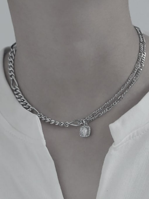 TINGS Brass Cubic Zirconia Geometric Vintage Necklace 3