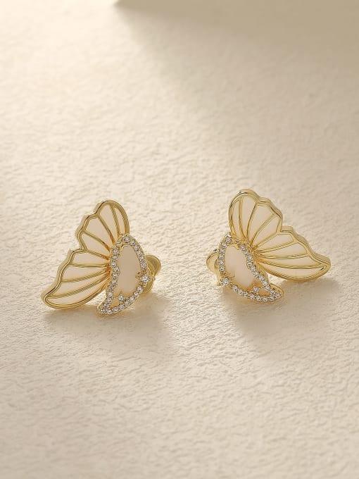 HYACINTH Brass Shell Butterfly Cute Stud Trend Korean Fashion Earring