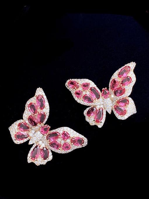 SUUTO Brass Cubic Zirconia Butterfly Trend Stud Earring 1