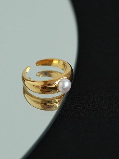 Five Color Brass Imitation Pearl Irregular Minimalist Band Ring 3