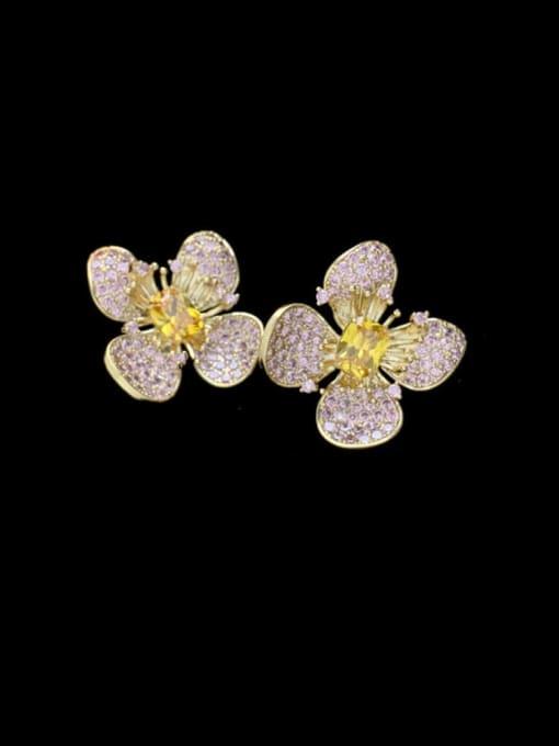 Pink Brass Cubic Zirconia Flower Vintage Stud Earring